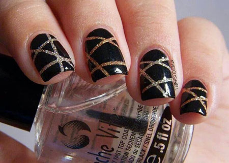 Halloween Nail Idea, New Years Gold Black