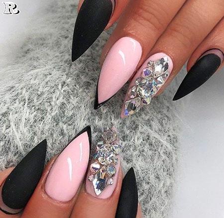 Cute Pink Nails, Stiletto Good Amazing Glitter