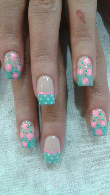 Pink and Blue Nail Design, Acrylic Blue Pink Spring