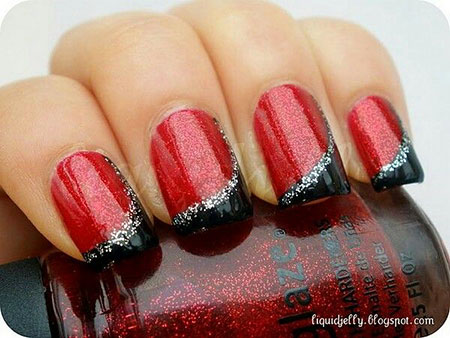Classy Red and Black Nail Design, Red Manicure Glitter Polish