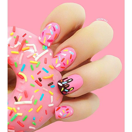 Sprinkles Nail Design, Manicure Short Stiletto Flower