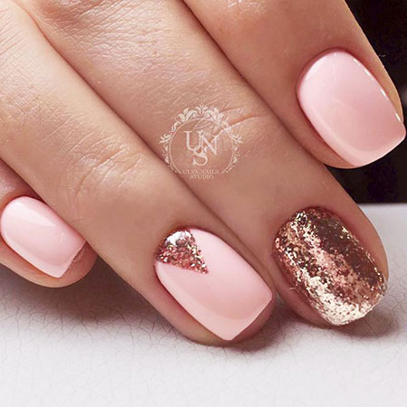Triangle Shape Glitter Nails, Manicure White Cute Pretty