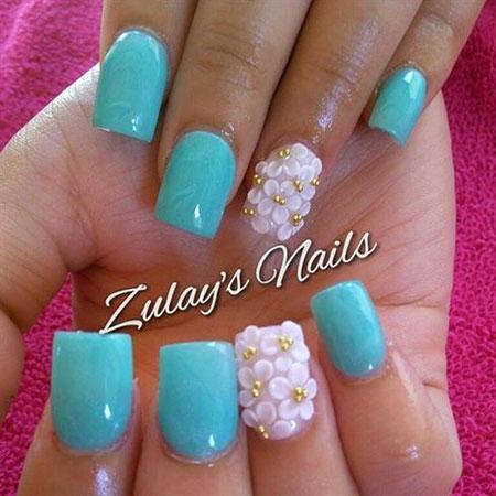 Mint Blue and 3D Flowers, 3D Flowers Mint Style