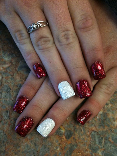 Acrylic Nails Art for Winter, Christmas Acrylic Ideas White