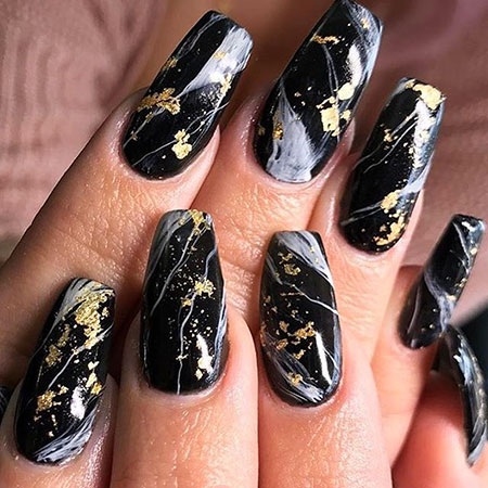 Black Marble Nail Design, Pro Love Gold Coffin