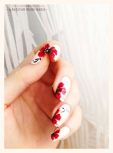 Red Nail Art, Flowers Flower Floweral Manicure