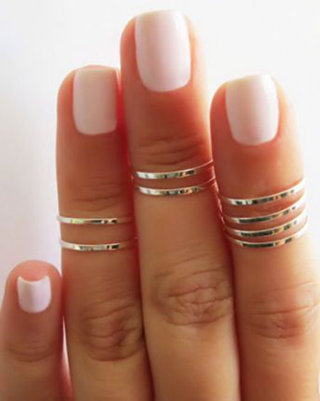 Nail Color and Ring Combination, Rings Ring Knuckle Rose