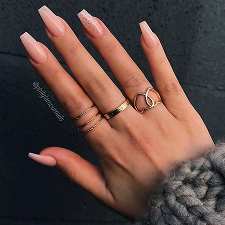Ombre White and Nude Colored Nails, Ombre Coffin Nude Long