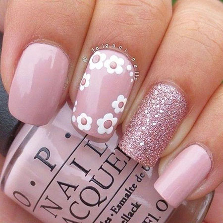 Pink White Floral Nail Art, Spring White Trend Ideas