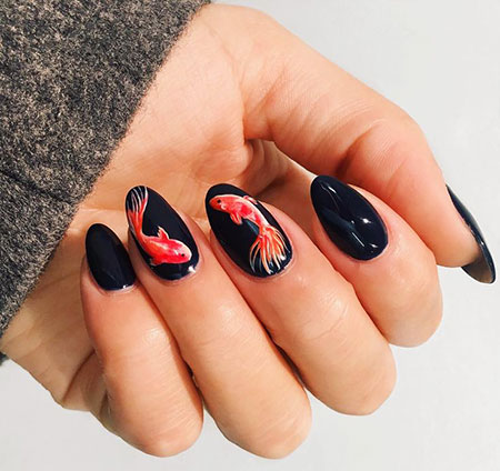 Cute Fish Nail Art, Manicure Gel Paznokcie