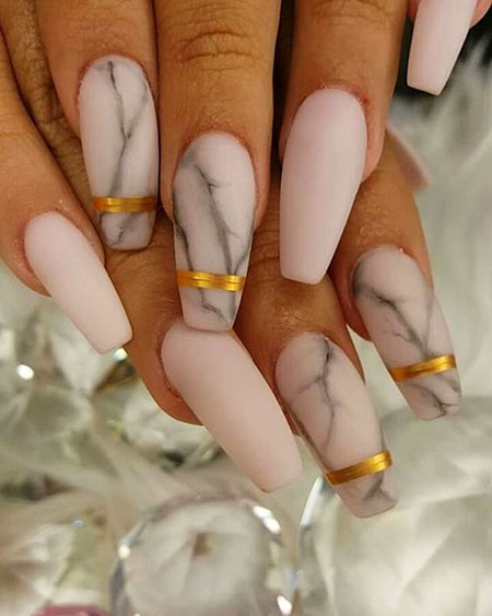 White Marble Nails, Acrylic Matte Manicure Coffin
