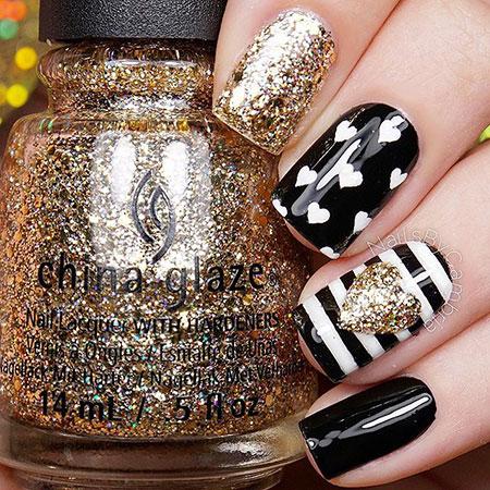 Black Glitter Polish Striping