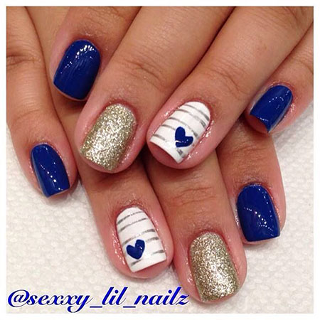 Blue and Gold Nail Design, Nice Toes Pretty Spring