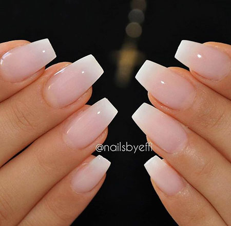 Natural Coffin Nails, French Manicure Acrylic Beach