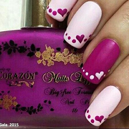 Heart Nail Art Design, Manicure Coral