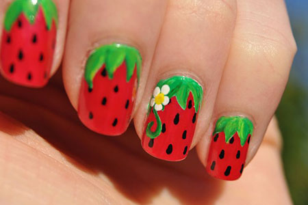 Strawberry Nail Art, But Red Base Pink