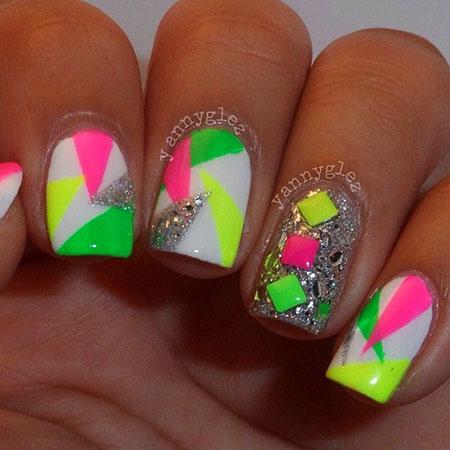 80S Nail Designs, Neon Decoradas Uña Marble