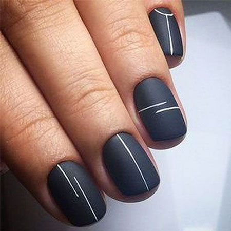 Cute Easy Nail Design for Short Nails, Black Manicure Nice Short