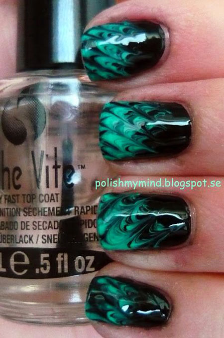 Green Polish Black Marble