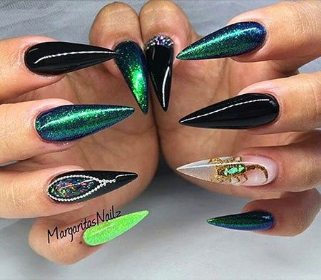 Stiletto Black Green Acrylic