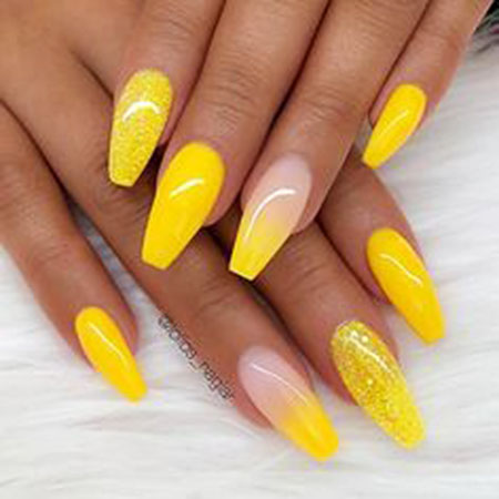 Coffin Yellow Gel Ombre