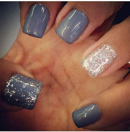 Gray Nails with Silver Glitter, Glitter Fall Rock Cool