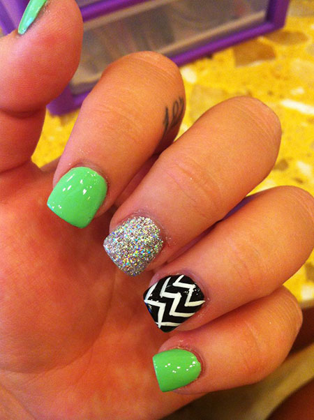 Nail Art Lime Green, Green Chevron Two Mint