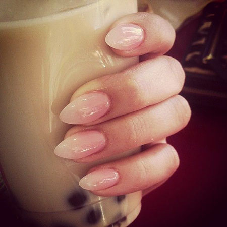 Cute Pink Oval Nails, Acrylic Manicure Almond But