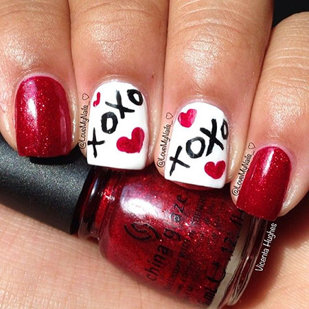 Short Lovely Nails, Valentine Day Christmas Valentines