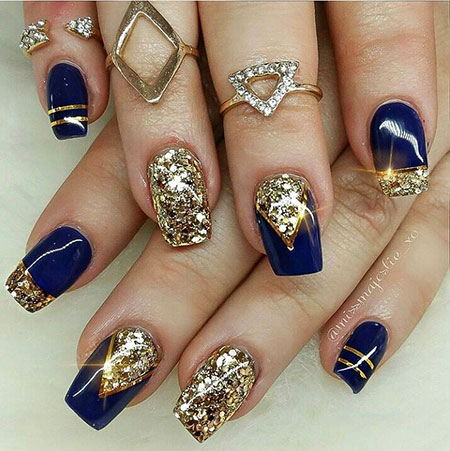 Royal Blue and Gold Nail Art, Blue Glitter Girl Best