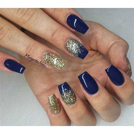 Glitter Gold Navy Blue