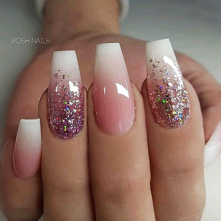 Coffin Glitter Ombre Long