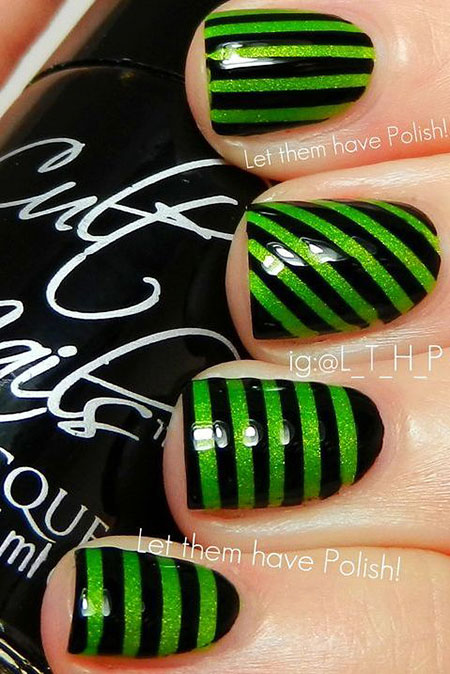 Black Cute Green Striped