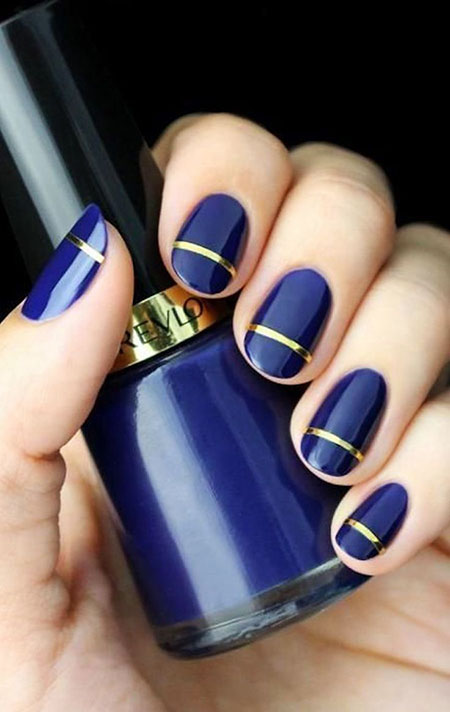 Manicure Polish Gold Blue