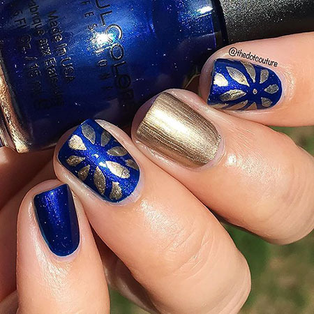 Polish Floral Gold Blue