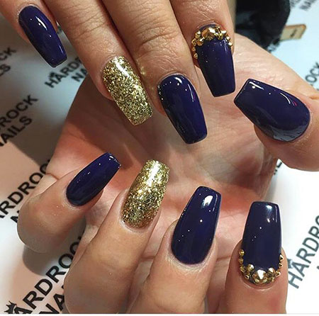 Navy Gold Blue Acrylic