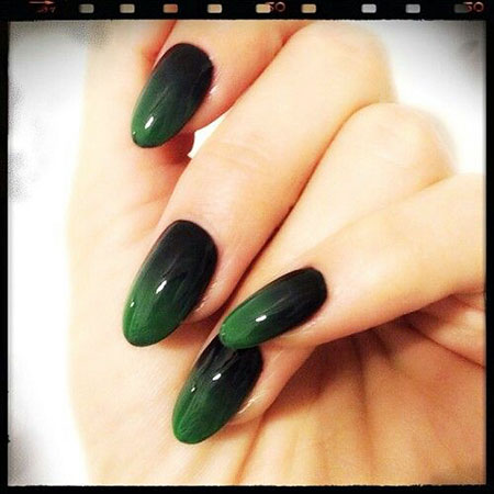 Black Green Manicure Love