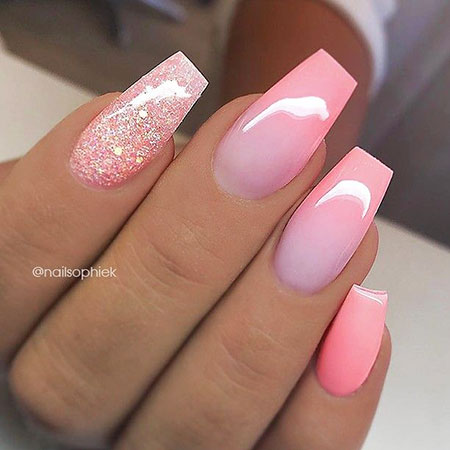 Coffin Pink Ombre Glitter