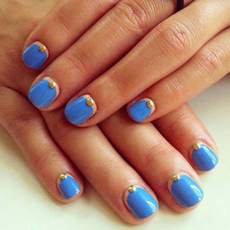 Blue Manicure French Dots