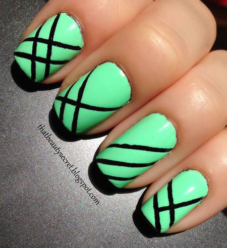 Green Stripes Black