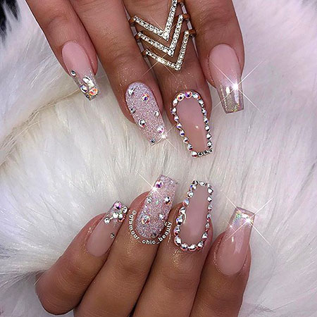 Pink Cool Nail Art, Luxury Chic Glamour Manicure