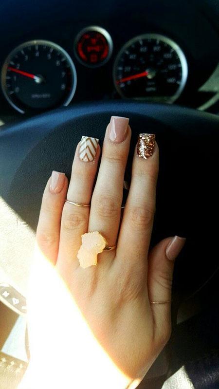 Fall Short Nail Design, Fall Short Rose Gold