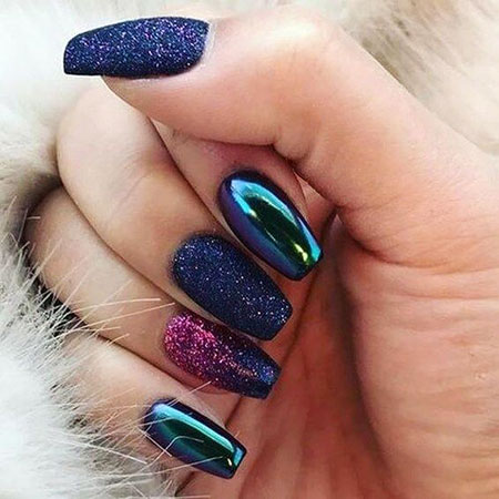Metallic and Glitter Nail Style, Metallic Quick Trends Awesome