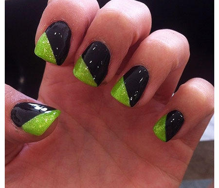 Black and Green Funky Nails, Green Black Ideas Wedding