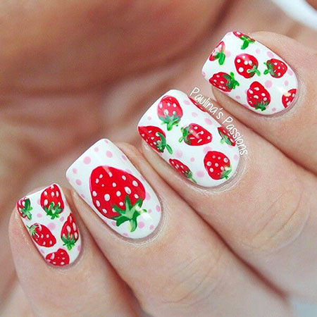 Adorable White Base Nails, Summer Cherry Floweral Christmas