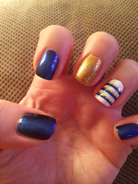 Cool Blue and Gold Nail, Blue Gold Cute Purple