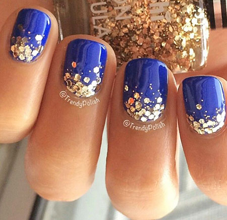 Sparkle Nail Art, Manicure Gold Blue Glitter