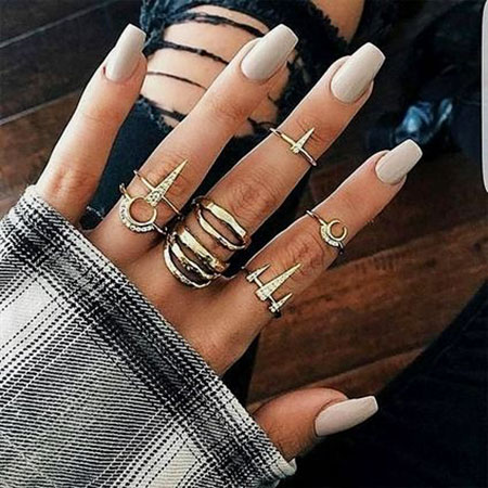 Coffin Long Nail Art, Acrylic Ring Girl Gold