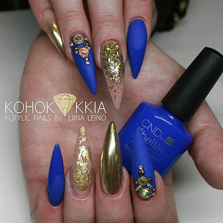 Long Stiletto Nail Design, Gold Blue Stiletto Fashion