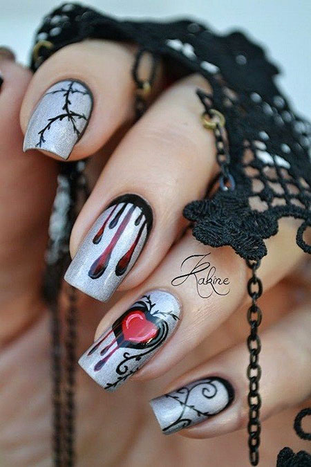 Cool Halloween Nail Art, Halloween Base Ideas Silver